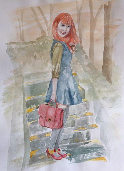 akwarela uśmiechnięta dziewczyna oryginał