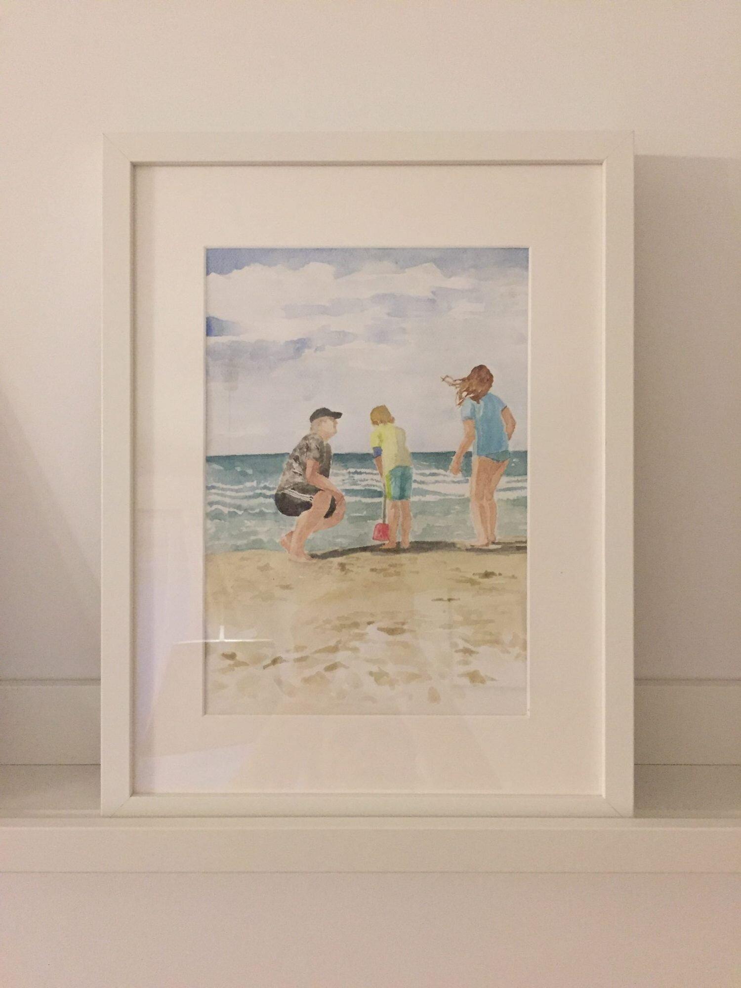 Obraz w ramie akwarela z rodziną nad morzem