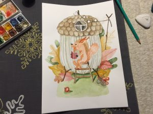 Akwarela domek jesienią