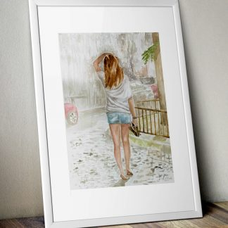Plakat A3 akwarela dziewczyna w deszczu w mieście