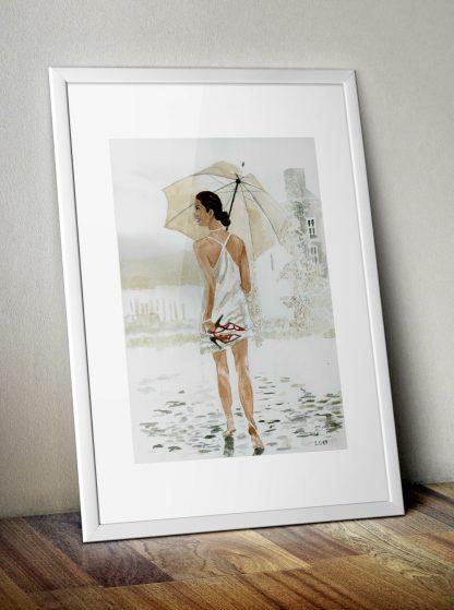 Plakat A3 akwarela dziewczyna w deszczu