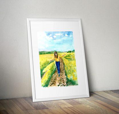 Akwarela dziewczyna wiosna kwitnące pola