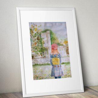 Akwarela dziewczyna jesienny spacer