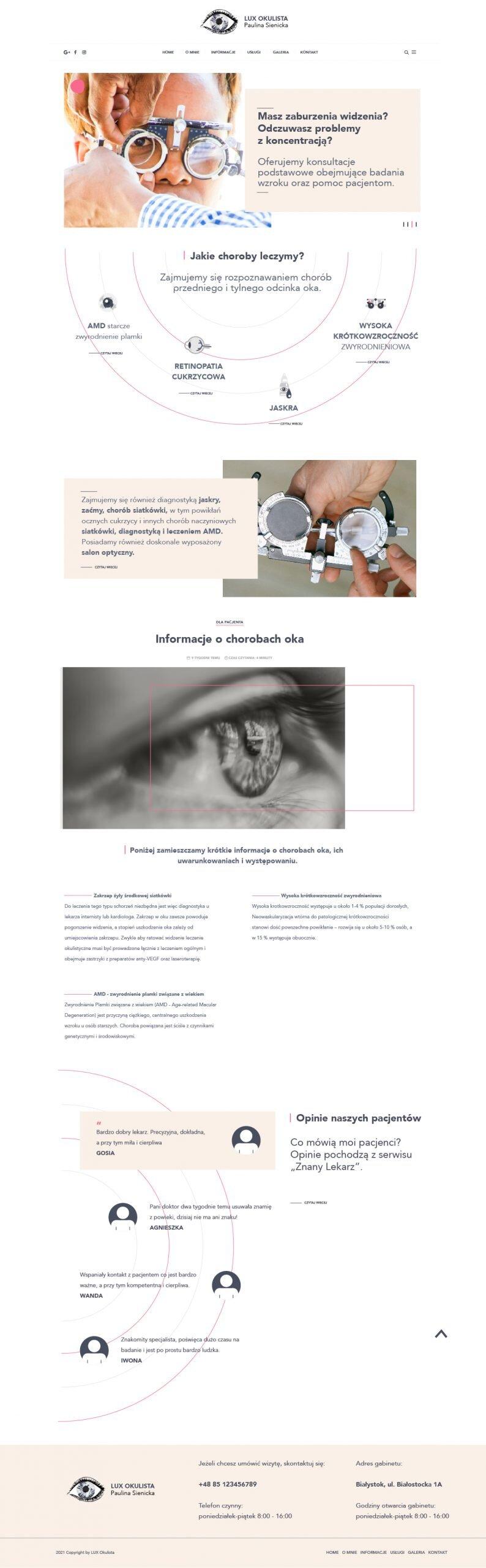 Wersja druga pierwszej strony strony LuxOkulista